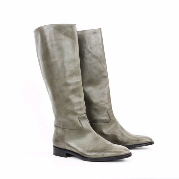 Robert Clergerie taupe gray leather low heel boots