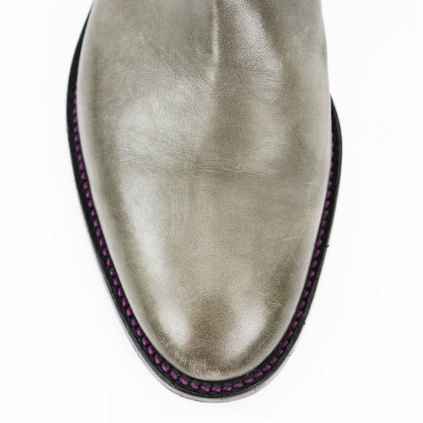Robert Clergerie taupe gray leather round toe boots