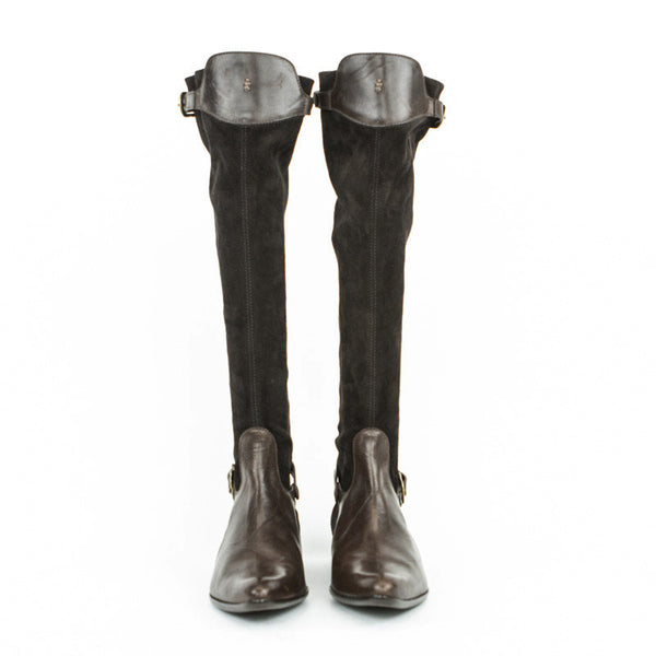 Knee high suede boots with leather at knee and bottom