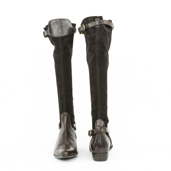 Knee high suede and leather boots with adjustable straps and buckle closures