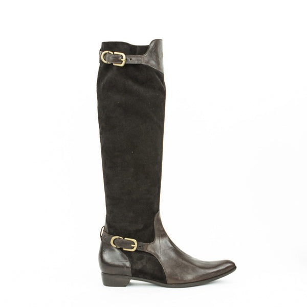Henry Beguelin suede and leather pull on knee high boots with buckle closures