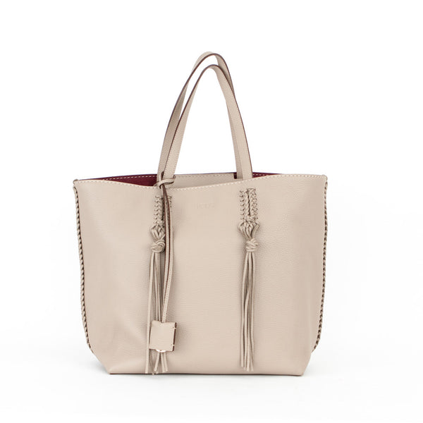 Tods Neutral Brown Leather Fringed Tote Handbag