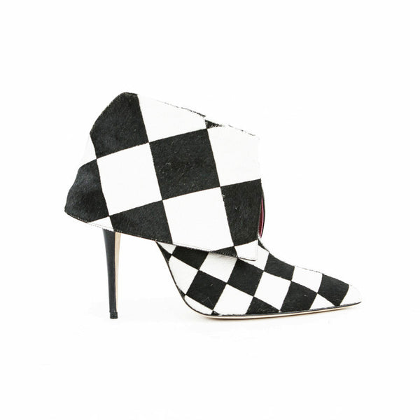Manolo Blahnik Checkered Print Pony Hair Ankle Booties With A Fold Over Cuff