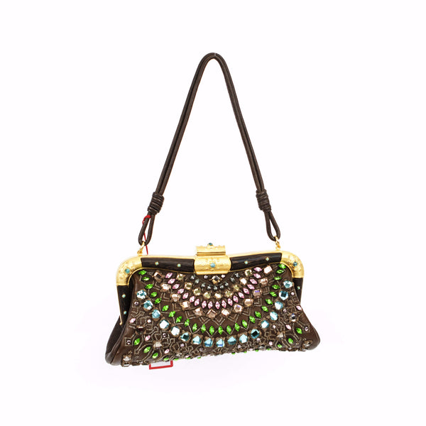Valentino brown leather handbag with crystals all over