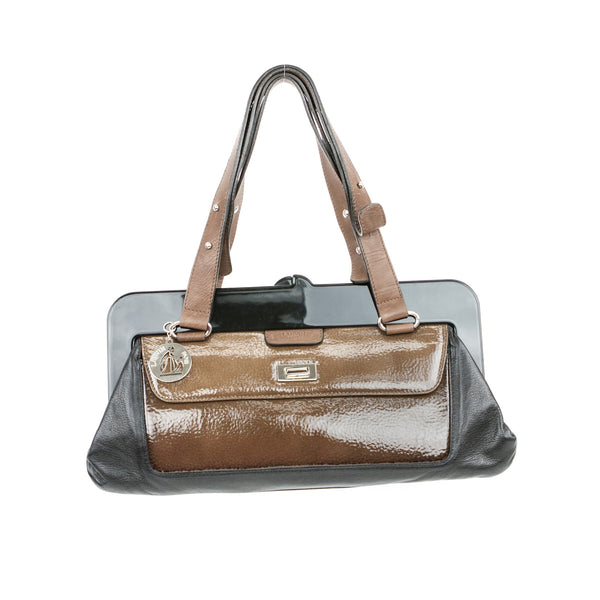 Lanvin black leather and brown patent panel front shoulder bag. This bag has brown leather adjustable straps with silver tone hardware.