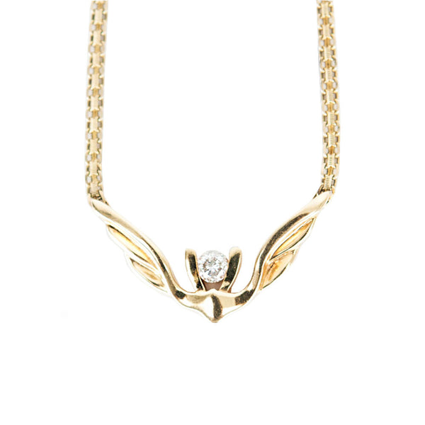 14K Gold Wing Necklace