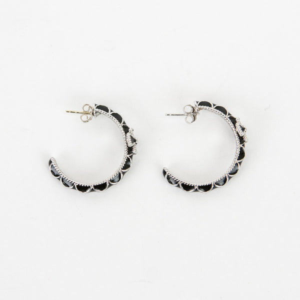 Jude Frances | Zasha Black Hoop Earrings