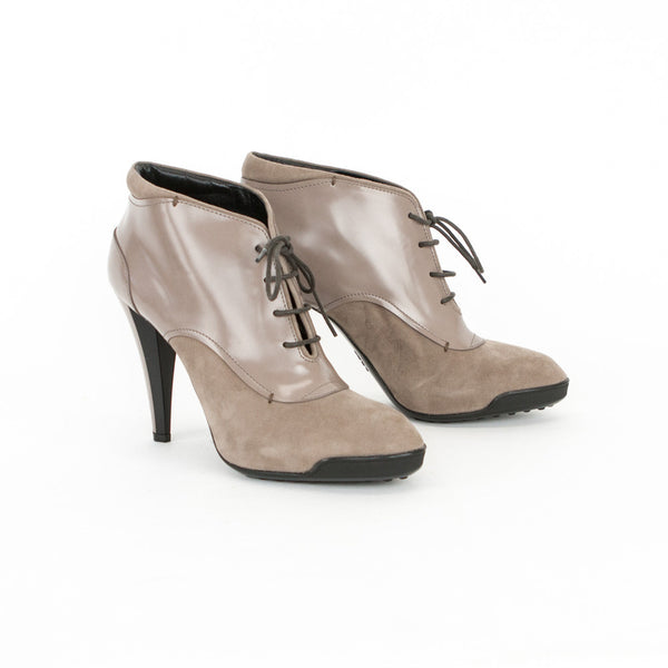 Tods Taupe Suede Trim Booties