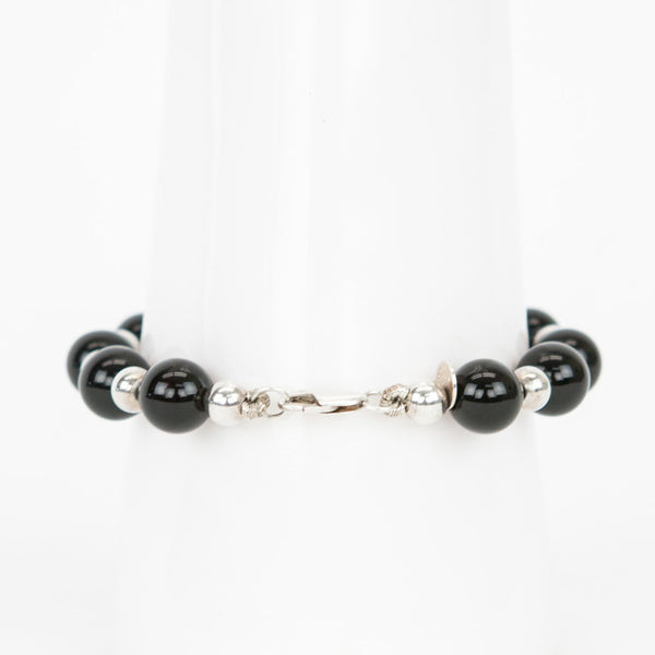 Tiffany & Co onyx and sterling silver bead bracelet with lobster claw closure.