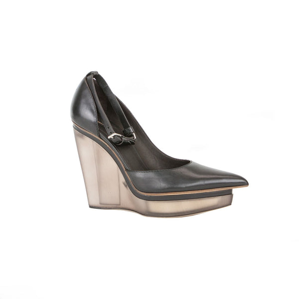 Calvin Klein Collection| Black Leather Wedges