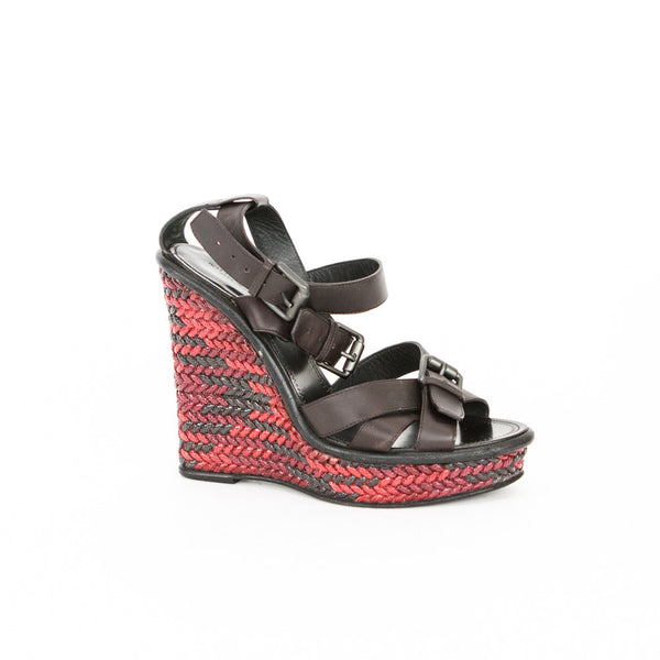 Bottega Veneta brown and red woven wedges