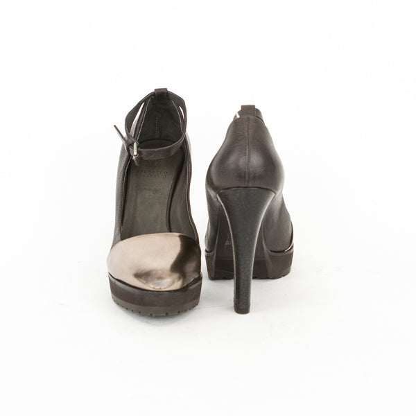 Brunello Cucinelli brown and bronze leather high heels covered heels