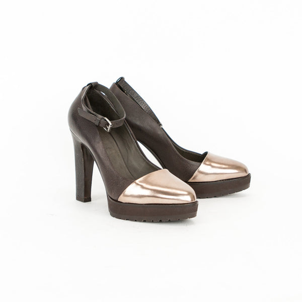Brunello Cucinelli brown and bronze leather high heels size 9