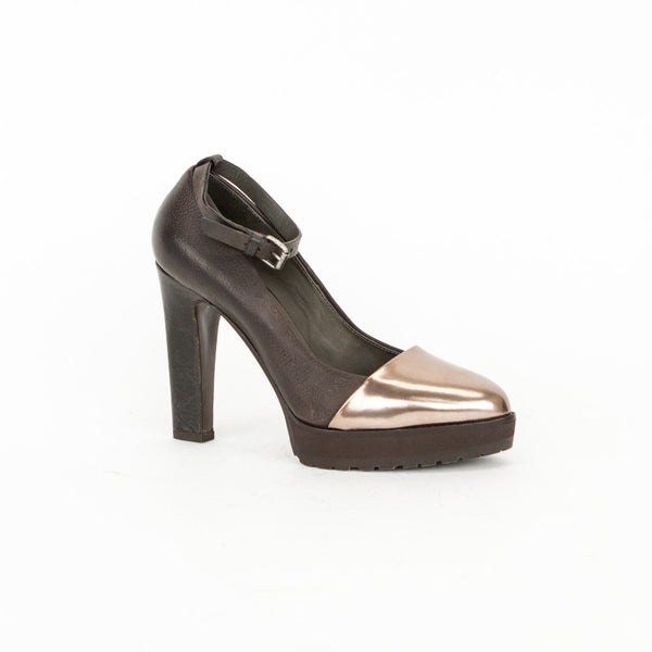 Brunello Cucinelli brown and bronze leather high heels