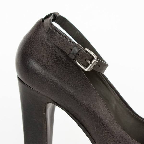 Brunello Cucinelli brown and bronze leather high heels silvertone buckle