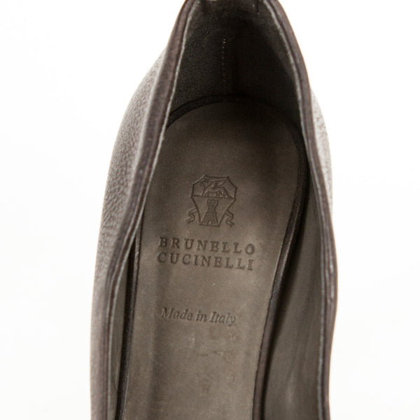 Brunello Cucinelli brown and bronze leather high heels branded insoles