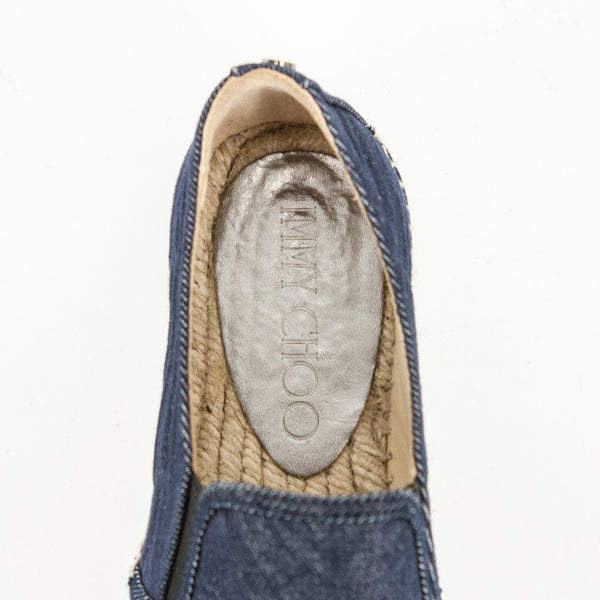 Jimmy Choo Dawn denim slip on sneakers branded insoles