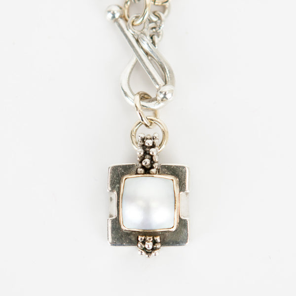Michael Dawkins square pearl pendant necklace toggle clasp