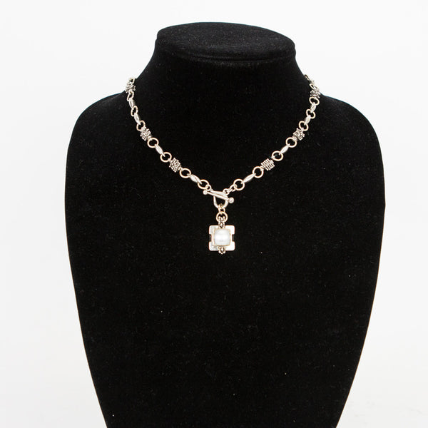 Michael Dawkins square pearl pendant silver necklace