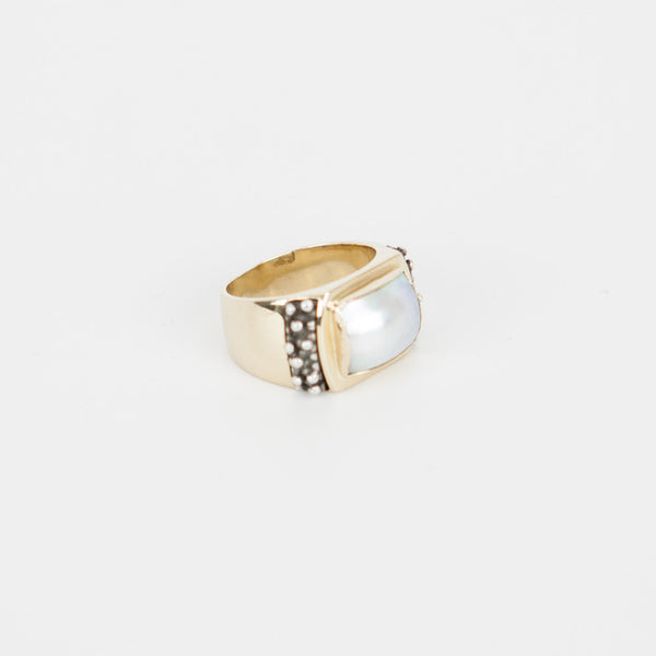 Michael Dawkins mother of pearls gold ring silver dotted accent