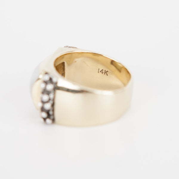Michael Dawkins mother of pearls gold ring stamped with 14K