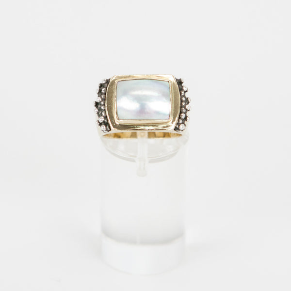 Michael Dawkins mother of pearls gold ring size 5.5