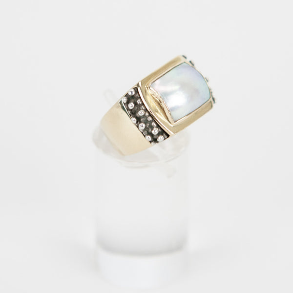 Michael Dawkins mother of pearls gold graduated ring