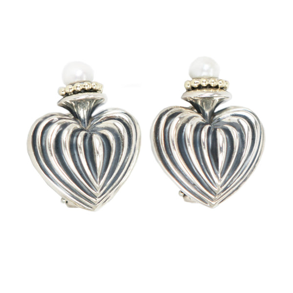 Lagos | Silver Fluted Heart Earrings