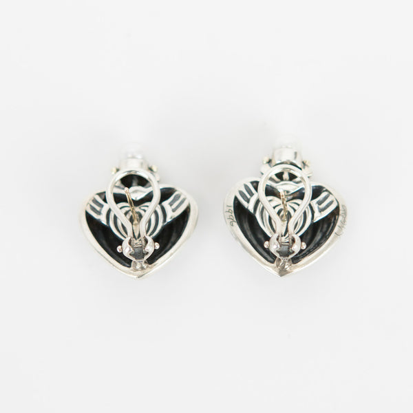 Lagos silver fluted heart earrings stamped with 750 and 925