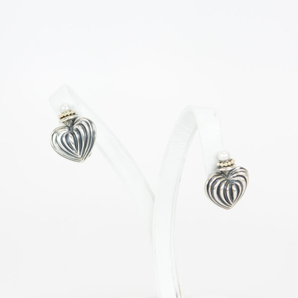 Lagos silver fluted heart earrings
