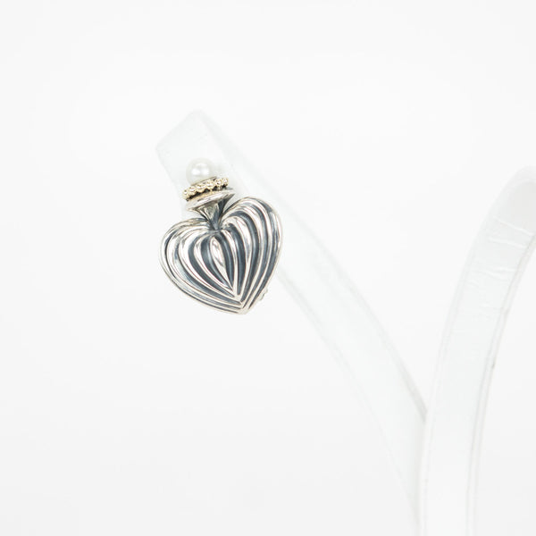 Lagos sterling silver fluted heart earrings