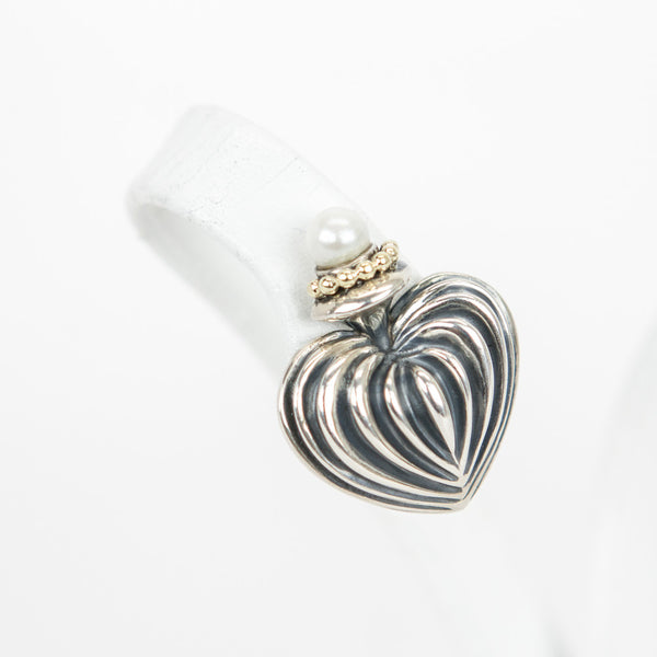 Lagos silver fluted heart earrings with pearl on top