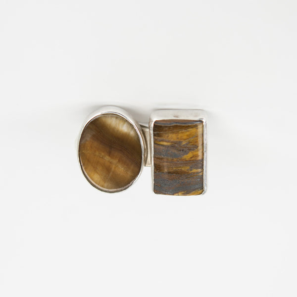 Rebecca Collins | Tiger-Eye Stone Clip-On Earrings