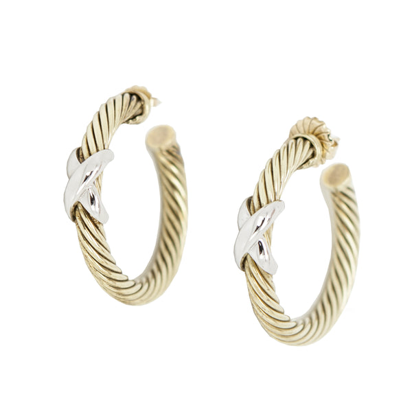 David Yurman | Gold and Silver Hoop Earrings
