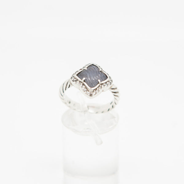 David Yurman periwinkle tone chalcedony and pave diamond ring on sterling silver cable band. Quatrefoil Collection