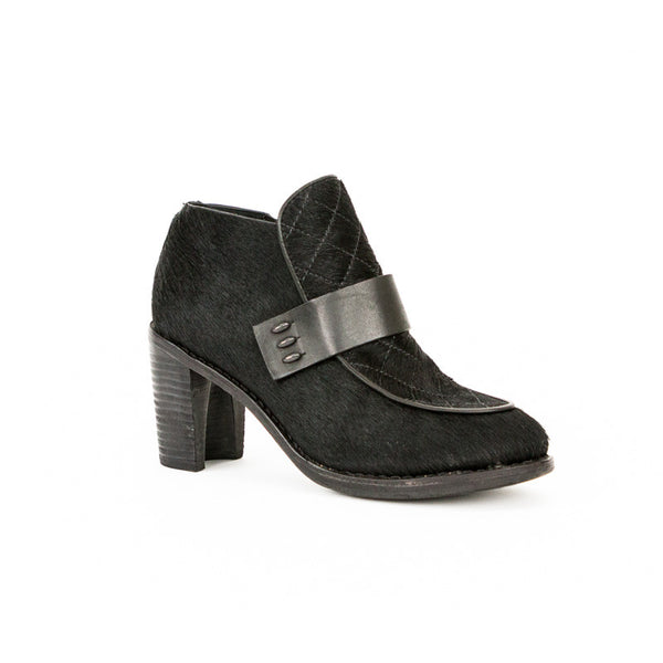 Rag & Bone black pony hair lytton loafer style booties with wooden stacked chunky heels, leather accent straps, and side zip closures.