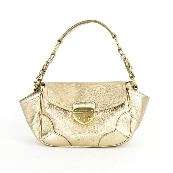 Prada | Gold Leather Shoulder Handbag
