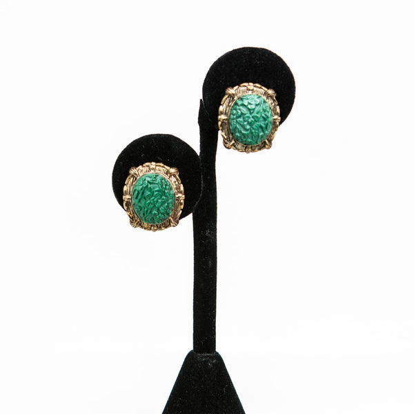 Stephen Dweck Filigree Carved Malachite on Bronze Earrings