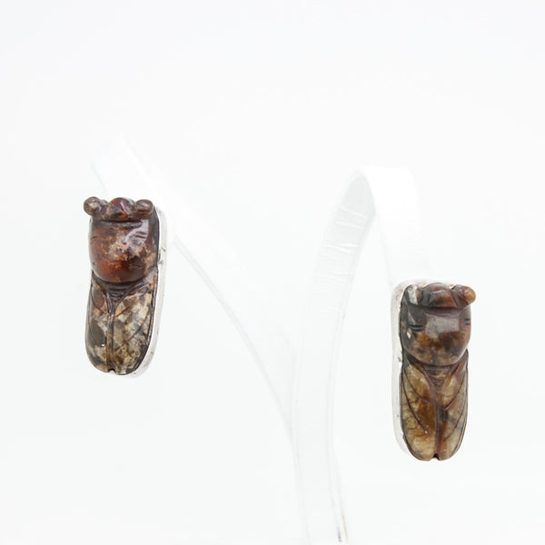 Rebecca Collins cicada clip- on earrings