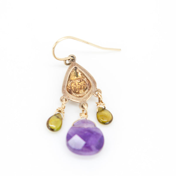 Alexis Bittar amethyst and peridot chandelier pierced earrings