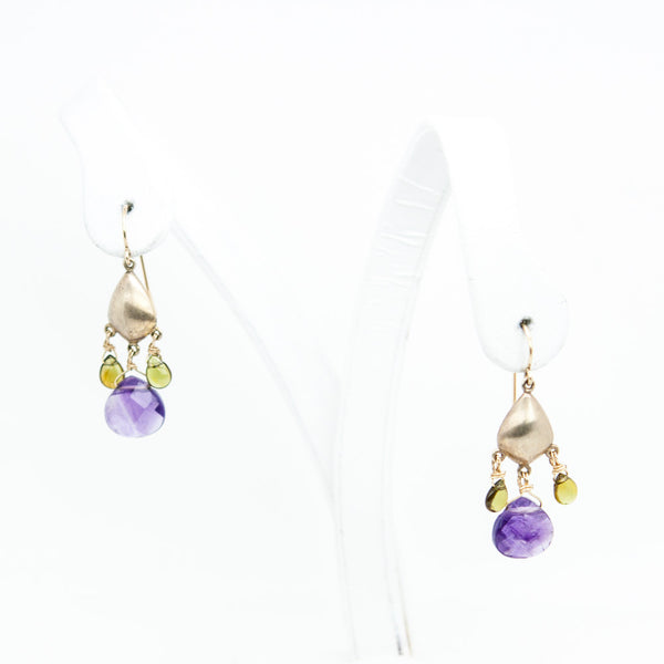 Alexis Bittar amethyst and peridot chandelier earrings 925