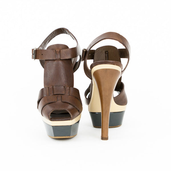 Marni t-strap sandals with wooden heels