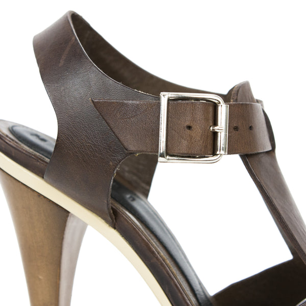 Marni brown leather platform sandals with adjustable ankle straps and silver tone hardware