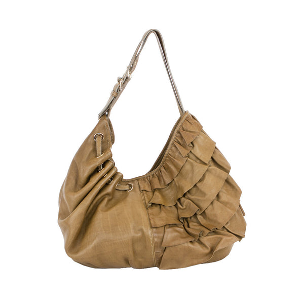 Moschino | Brown Ruffle Hobo Handbag