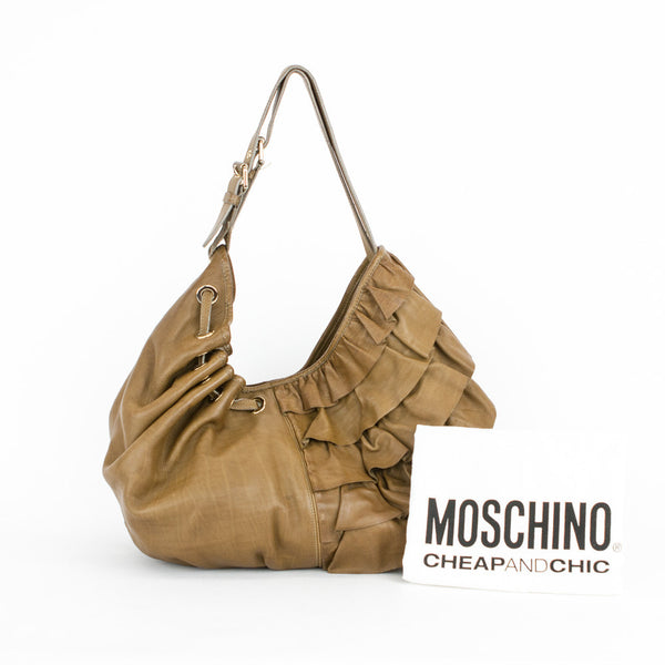 Moschino | Hobo Shoulder Handbag Brown Leather