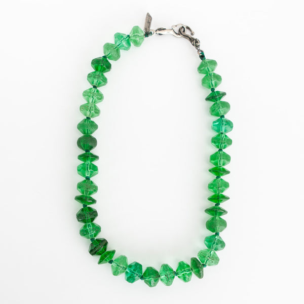 Rebecca Collins emerald green necklace