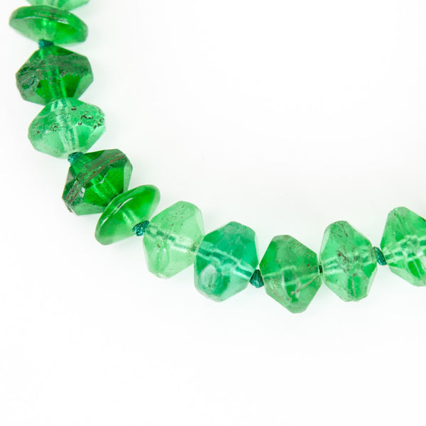 Rebecca Collins emerald green knotted necklace