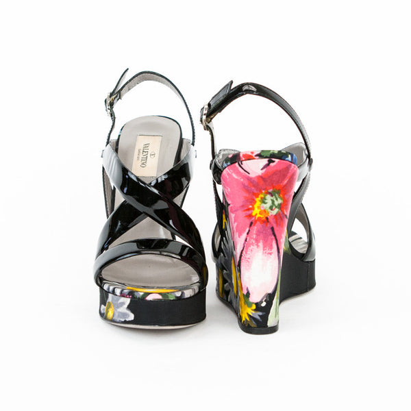 Valentino floral print high wedges made in Italy