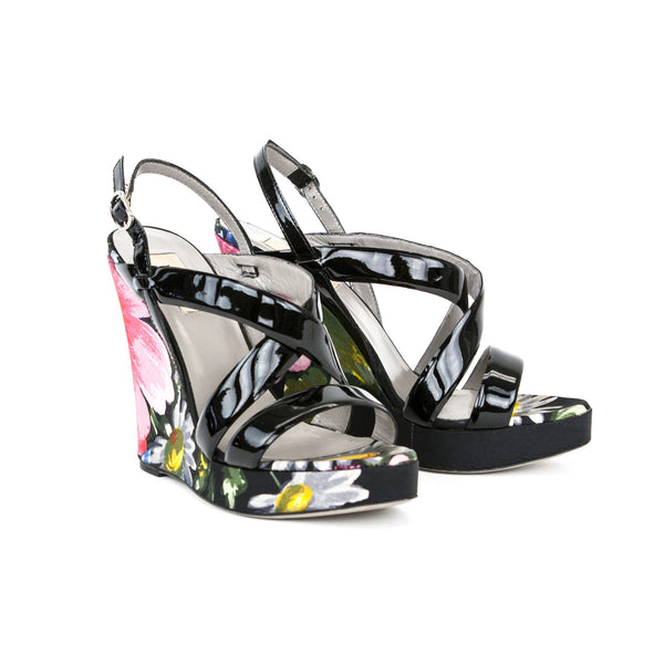Valentino floral print high wedges with patent leather straps