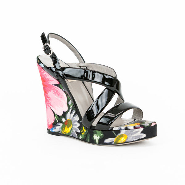 Valentino floral print high wedges